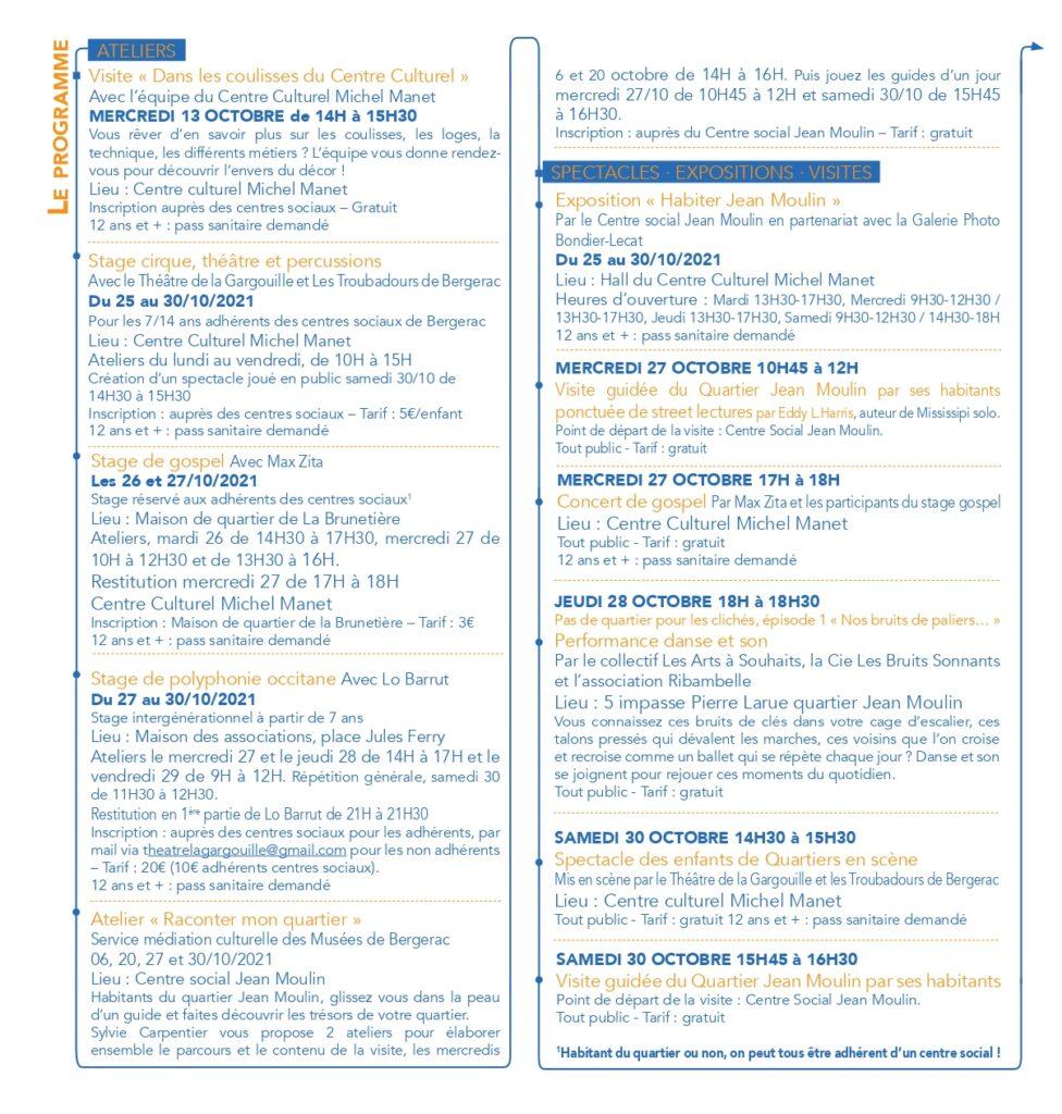 Programme Quartiers en scène 2021 Bergerac Quartier Jean Moulin Politique de la ville